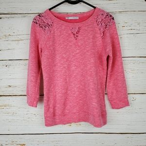 Maurices Pink Lace Accent Sweatshirt
